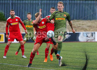 UEFA Europa League First Qualifying Round First Leg, Solitude, Belfast 12/7/2018. Cliftonville vs Nordsjaelland. Cliftonville\'s  Levi Ives with Nordsjaelland\'s Andreas Skovgaard. Mandatory Credit ©INPHO/Jonathan Porter