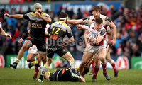 European Rugby Champions Cup Round 5, Kingspan Stadium, Belfast 13/1/2018. Ulster vs La Rochelle. Ulster\'s Jacob Stockdale and Geoffrey Doumayrou of La Rochelle. Mandatory Credit ©INPHO/Ryan Byrne