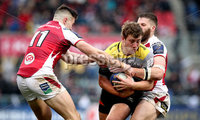 European Rugby Champions Cup Round 5, Kingspan Stadium, Belfast 13/1/2018. Ulster vs La Rochelle. Ulster\'s Jacob Stockdale and Stuart McCloskey with Pierre Bourgarit of La Rochelle. Mandatory Credit ©INPHO/Ryan Byrne