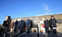 Press Eye Belfast - Northern Ireland 5th January 2018. Memorial service in Kingsmill, Co. Armagh to mark the anniversary of the murder of 10 Protestant workmen by the IRA.  The victims - textile factory workers - were shot dead when an IRA gang ambushed their mini-bus in 1976 near the Co. Armagh village.. Relatives of those killed take part in a two minute silence after laying wreaths at the memorial. . Picture by Jonathan Porter/PressEye.com