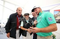 Press Eye - Belfast - Northern Ireland - 5th July  2018 . Dubai Duty Free Irish Open hosted by the Rory Foundation at Ballyliffin Golf Club, Co Donegal, Ireland.. Graeme McDowell with Colm McLoughlin, Des Smyth  and Breda McLoughlin in the private, Dubai Duty Free Irish Open Chalet on the 18th Green at the Dubai Duty Free Irish Open at Ballyliffin Golf Club which was held from Wednesday 5th to Sunday 8th July.. Photo by Kelvin Boyes / Press Eye..