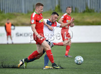 Press Eye Belfast - Northern Ireland 12th August 2017. Danske Bank Irish Premier league match between Cliftonville and Ards at Solitude Belfast.. Cliftonville\'s Stevie Garrett  in action with Ards Johnny Frazer.  Photo by Stephen  Hamilton / Press Eye