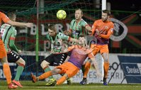 . Danske Bank Premiership,The Oval Belfast 14/11/2017. Glentoran v Glenavon. Mandatory Credit ©INPHO/Stephen Hamilton. Glentorans Marcu Kane  in action with Glenavons Marc Griffin