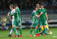 Press Eye - Belfast -  Northern Ireland - 11th June 2019 - Photo by William Cherry/Presseye. Northern Ireland\'s Paddy McNair and Jordan Jones after defeating Belarus 1-0 during Tuesday nights UEFA EURO 2020 Qualifier at the Borisov Arena, Belarus.      Photo by William Cherry/Presseye