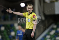 21/02/2020. Danske Bank Irish Premiership match between Linfield and Crusaders at The National Stadium.. Ref Keith Kennedy. Mandatory Credit  Inpho/Stephen Hamilton