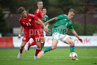 Press Eye - Belfast, Northern Ireland - 0th September 2020 - Photo by William Cherry/Presseye. Northern Ireland\'s Ethan Galbraith with Denmark\'s Carlo Holse during Tuesday nights U21 Euro Qualifier at the Ballymena Showgrounds, Ballymena.      Photo by William Cherry/Presseye