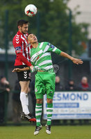 ©/Presseye.com - 19th May 2017.  Press Eye Ltd - Northern Ireland - Airtricity League Premier Division - Derry City V Shamrock Rovers. Derry\'s Aaron Barry and Shamrock Rovers\' Graham Burke.. Mandatory Credit Photo Lorcan Doherty / Presseye.com