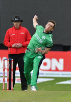 Mandatory Credit: Rowland White / PressEye. Cricket: Walton Tri-Series International. Teams: Ireland (light green) v Bangladesh (dark green). Venue: Malahide. Date: 19th May 2017. Caption: Peter Chase, Ireland
