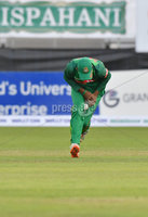 Mandatory Credit: Rowland White / PressEye. Cricket: Walton Tri-Series International. Teams: Ireland (light green) v Bangladesh (dark green). Venue: Malahide. Date: 19th May 2017. Caption:   How to drop a catch - 3 by Mosaddek Hossain, Bangladesh