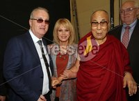 Monday 11th September 2017. Mandatory Credit ©Lorcan Doherty / Presseye . Children in Crossfire Compassion in Action Conference. His Holiness the 14th Dalai Lama  with Richard Moore, director, Children in Crossfire, and actress Johanna Lumley.. . Children in Crossfire is delighted to announce that our patron, His Holiness the 14th Dalai Lama of Tibet will visit Derry/Londonderry on Sunday 10th and Monday 11th September to celebrate Children in Crossfire's 20 years of saving and changing lives. His Holiness will give a public talk at the Millennium Forum.