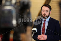 Press Eye - Northern Ireland - 19th April 2017 - Photographer - © Matt Mackey / Presseye.com. Irish nationalist politician and leader of the Social Democratic and Labour Party (SDLP) Colum Eastwood updates the assembled media in The Great Hall, Parliament Buildings, Stormont along with party colleagues.. Mr Eastwood took questions on Theresa May\'s call for a General Election in the midst of the Stormont crisis talks and reminded the other parties in the Assembly that the SDLP are wishing to continue the talks process..