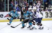 Press Eye - Belfast, Northern Ireland - 29th February 2020 - Photo by William Cherry/Presseye. Belfast Giants\' Patrick Mullen with Guildford Flames\' Steve Lee during Saturday nights Elite Ice Hockey League game at the SSE Arena, Belfast.    Photo by William Cherry/Presseye