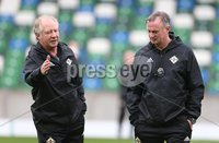PressEye-Northern Ireland- 10th September  2018-Picture by Brian Little/ PressEye. Northern Ireland Manager Michael O\'Neill (right) and assistant Jimmy Nicholl       training ahead of Tuesday Friendly International Challenge match against Israel  at the National Football Stadium at Windsor Park.. Picture by Brian Little/PressEye .