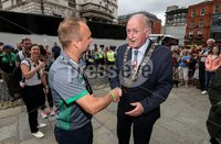 Irish Hockey Team Homecoming, Dublin 6/8/2018. Ireland coach Graham Shaw with Lord Mayor of Dublin Nial Ring. Mandatory Credit  ©INPHO/Tommy Dickson