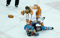 5 January 18, Mandatory Credit ©Press Eye/Darren Kidd.  . Belfast Giants Spiro Goulakos and Sheffield Steelers Colton Fretter drop their gloves during Friday nights Elite League game at the SSE Arena, Belfast.
