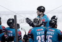 Press Eye - Belfast -  Northern Ireland - 10th October 2018 - Photo by William Cherry/Presseye. Belfast Giants\' Curtis Leonard celebrates scoring against the Guildford Flames during Wednesday nights Elite Ice Hockey League game at the SSE Arena, Belfast.        Photo by William Cherry/Presseye