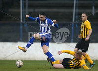 Tennent\'s Irish Cup Round 5, The Showgrounds, Co. Londonderry 5/1/2019. Coleraine vs H&W Welders. Coleraine\'s Eoin Bradley in action with H&W Welders Chris Morrow. Mandatory Credit INPHO/Matt Mackey