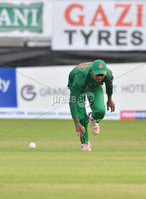 Mandatory Credit: Rowland White / PressEye. Cricket: Walton Tri-Series International. Teams: Ireland (light green) v Bangladesh (dark green). Venue: Malahide. Date: 19th May 2017. Caption: How to drop a catch - 5 by Mosaddek Hossain, Bangladesh