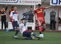Press Eye Belfast - Northern Ireland 12th August 2017. Danske Bank Irish Premier league match between Cliftonville and Ards at Solitude Belfast.. Cliftonville\'s Jay Donnelly  in action with Ards Scott Davidson.  Photo by Stephen  Hamilton / Press Eye