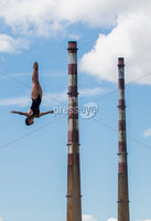 REPRO FREE***PRESS RELEASE NO REPRODUCTION FEE***. Return of the Red Bull Cliff Diving World Series to Ireland, Dublin 16/5/2017. Red Bull Cliff Divers Orlando Duque and Anna Bader showcased their acrobatic expertise at the iconic Northbank Lighthouse in Dublin Bay this morning to celebrate the return of the Red Bull Cliff Diving World Series to Ireland. Returning for the third time the World Series will begin on 24th June on Inis Mór. It was announced today that the sold-out event will be broadcast live to a global audience on Red Bull TV, when the world's cliff diving elite will compete at the breathtaking Serpent's Lair on the edge of Europe. RedBullCliffDiving.COM. Pictured Red Bull Cliff Diver Anna Bader . Mandatory Credit ©INPHO/Morgan Treacy