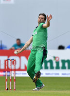 Mandatory Credit: Rowland White / PressEye. Cricket: Walton Tri-Series International. Teams: Ireland (light green) v Bangladesh (dark green). Venue: Malahide. Date: 19th May 2017. Caption: Tim Murtagh, Ireland