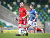 Danske Bank Premiership, Windsor Park, Belfast 9/2/2019. Linfield vs Coleraine. Linfield\'s Jordan Stewart with Coleraine\'s Ian Parkhill. Mandatory Credit INPHO/Matt Mackey