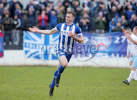 Danske Bank Premiership, The Ballymena Showgrounds, Co. Antrim 14/4/2018 . Coleraine vs Ballymena United.. Coleraine\'s Darren McCauley celebrates after he scores to make it 1-0. . Mandatory Credit ©INPHO/Jonathan Porter