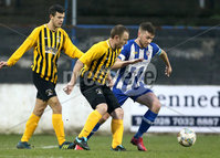 Tennent\'s Irish Cup Round 5, The Showgrounds, Co. Londonderry 5/1/2019. Coleraine vs H&W Welders. Coleraine\'s Stephen Lowry in action with H&W Welders William Armstrong . Mandatory Credit INPHO/Matt Mackey