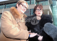 Press Eye - Belfast - Northern Ireland - 8th February 2019. . 33-year-old man appears in Belfast Magistrates Court charged with the murder of Ian Ogle.  The 45-year-old died after being assaulted by several people at Cluan Place area of east Belfast on Sunday 27th January.  . Mr Ogle\'s daughter Toni(right) pictured outside Belfast Laganside Courts. . Picture by Jonathan Porter/PressEye