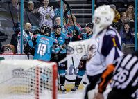 Press Eye - Belfast -  Northern Ireland - 03rd February 2019 - Photo by William Cherry/Presseye. Belfast Giants celebrates scoring against the Guildford Flames during Friday nights Elite Ice Hockey League game at the SSE Arena, Belfast.   Photo by William Cherry/Presseye