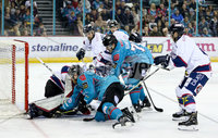 Press Eye - Belfast -  Northern Ireland -16th November 2019 - Photo by Darren Kidd/Presseye . Belfast Giants\' Ciaran Long with Dundee Stars\' Alex Leclerc during Saturday nights Elite Ice Hockey League game at the SSE Arena, Belfast.    Photo by Darren Kidd/Presseye