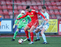 Press Eye - Belfast - 6th January 2018  . Cliftonville v Warrenpiont Town, Tennents Irish Cup 5th round at Solitude, North Belfast.. Cliftonville\'s Joe Gormley in action with Warrenpiont Town\'s Anto Reilly. Picture by Matt Mackey / Inpho.ie