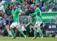 Press Eye Belfast - Northern Ireland 8th September 2018. UEFA Nations League 2019 Final Tournament at the National Stadium at Windsor Park.  Northern Ireland Vs Bosnia and Herzegovina. . Northern Ireland\'s Will Grigg celebrates after scoring to make it 1-2.. Picture by Jonathan Porter/PressEye.com