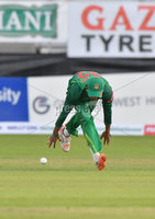 Mandatory Credit: Rowland White / PressEye. Cricket: Walton Tri-Series International. Teams: Ireland (light green) v Bangladesh (dark green). Venue: Malahide. Date: 19th May 2017. Caption: How to drop a catch - 4 by Mosaddek Hossain, Bangladesh