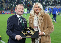 PressEye-Northern Ireland- 16th November 2019-Picture by Brian Little/PressEye. IFA President  David Martin presents Ashley Hutton with her 100th cap before Northern Ireland against  Netherlands   during Saturday\'s EURO 2020 Qualifier at the National Football Stadium at Windsor Park.. Picture by Brian Little/PressEye