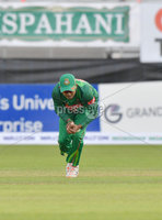 Mandatory Credit: Rowland White / PressEye. Cricket: Walton Tri-Series International. Teams: Ireland (light green) v Bangladesh (dark green). Venue: Malahide. Date: 19th May 2017. Caption: How to drop a catch - 1 by Mosaddek Hossain, Bangladesh