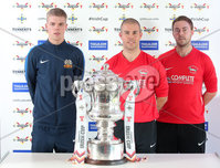Press Eye Northern Ireland . Thursday 6th December 2018. Picture by Jonathan Porter  / Press Eye . . 5th Round Draw of the Tennent\'s Irish Cup that took place today in Pat Jennings Lounge, National Football Stadium at Windsor Park.. Glenavon\'s Rhys Marshall AND Rosemount\'s Ryan Stewart, Scott Ritchie . Glenavon\'s Rhys Marshall AND Rosemount\'s Ryan Stewart, Scott Ritchie