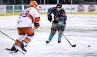 Press Eye - Belfast -  Northern Ireland - 06th January 2019 - Photo by William Cherry/Presseye. Belfast Giants\' Mark Garside with Sheffield Steelers\' Aaron Johnson during Sunday afternoons Elite Ice Hockey League game at the SSE Arena, Belfast.    Photo by William Cherry/Presseye