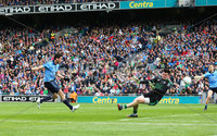 GAA Football All Ireland Senior Championship Quarter-Final, Croke Park, Dublin 2/8/2015. Dublin vs Fermanagh. Dublin\'s Bernard Brogan scores a goal past Fermanagh goalkeeper Thomas Treacy. Mandatory Credit ©INPHO/Cathal Noonan