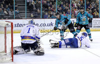 Press Eye - Belfast, Northern Ireland - 06th March 2020 - Photo by William Cherry/Presseye. Belfast Giants\' Liam Morgan scoring against the Fife Flyers during Friday nights Elite Ice Hockey League game at the SSE Arena, Belfast.   Photo by William Cherry/Presseye