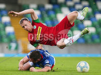 Danske Bank Premiership at Windsor Park, Belfast.  07.12.2019. Linfield FC Vs Cliftonville FC. Linfields Jamie Mulgrew with Cliftonvilles Liam Bagnall. Mandatory Credit INPHO/Jonathan Porter