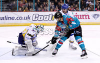 Press Eye - Belfast -  Northern Ireland - 09th February 2018 - Photo by William Cherry/Presseye. Belfast Giants Dustin Johner with Fife Flyers Andy Iles during Friday nights Elite Ice Hockey League game at the SSE Arena, Belfast.