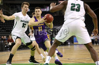 Press Eye - Belfast -  Northern Ireland - 30th November 2018 - Photo by William Cherry/Presseye. Albany\'s Cameron Healy with Dartmouth\'s Adrease Jackson during Friday afternoons Samson Bracket Consolation game in the Basketball Hall of Fame Belfast Classic at the SSE Arena, Belfast.