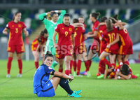 Press Eye Belfast - Northern Ireland 8th August 2017. 2017 UEFA Women\'s Under-19 Championship Final at the National Stadium at Windsor Park, Belfast.  France Vs Spain. France\'s Mathilde Bourdieu is emotional after they get beat by Spain 2-3.  . Picture by Jonathan Porter/PressEye.com.