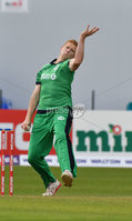 Mandatory Credit: Rowland White / PressEye. Cricket: Walton Tri-Series International. Teams: Ireland (light green) v Bangladesh (dark green). Venue: Malahide. Date: 19th May 2017. Caption: Kevin O\'Brien bowling for Ireland