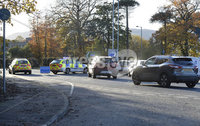 08/11/2019. General views of an Road traffic incident facing Northern Regional College in Newtownabbey which has seen both sides of the road closed since early morning. . Mandatory Credit Presseye/Stephen Hamilton.