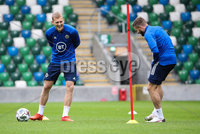 Press Eye - Belfast, Northern Ireland - 01st September 2020 - Photo by William Cherry/Presseye. Northern Ireland\'s George Saville and Stuart Dallas during Tuesday mornings training session at the National Stadium at Windsor Park, Belfast ahead of Friday nights Nations League game in Romania.    Photo by William Cherry/Presseye