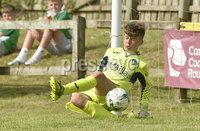 26th  July 2018. SuperCupNI 2018 Minor  section semi final between Greenisland and Portadown at Seahaven Portstewart.. Greenisland\'s goalkeeper with the save that sent his team to the final.  Mandatory Credit: Stephen Hamilton /Presseye