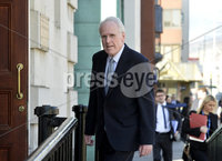 16/04/18 Presseye.com. Former Stormont Minister Dermot Nesbit pictured as he arrives at the high Court in Belfast where judgement will be given to a legal challenge to  build an apartment block beside his home.. Mandatory Credit  Stephen Hamilton.