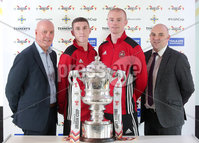 Press Eye Northern Ireland . Thursday 6th December 2018. Picture by Jonathan Porter  / Press Eye . . 5th Round Draw of the Tennent\'s Irish Cup that took place today in Pat Jennings Lounge, National Football Stadium at Windsor Park.. . Larne Tech Old Boys representatives and players attended the Tennents Irish Cup fifth round draw. They are (from left) Greg McGoldrick, Christopher Morton, Niall McAllister and Johnny Hastings. Larne Tech OB were drawn to face Championship side Limavady United away in round five on Saturday 5 January.